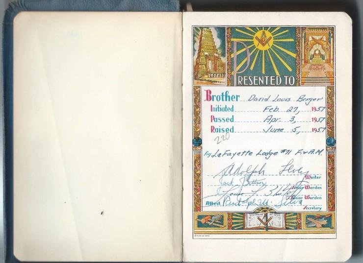 Title page of Lou Berger Masonic Bible