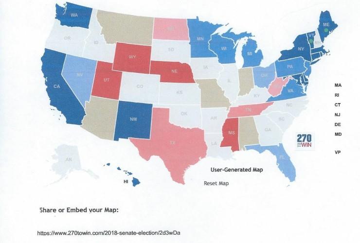 2018 projected Senate map 12-11-2017