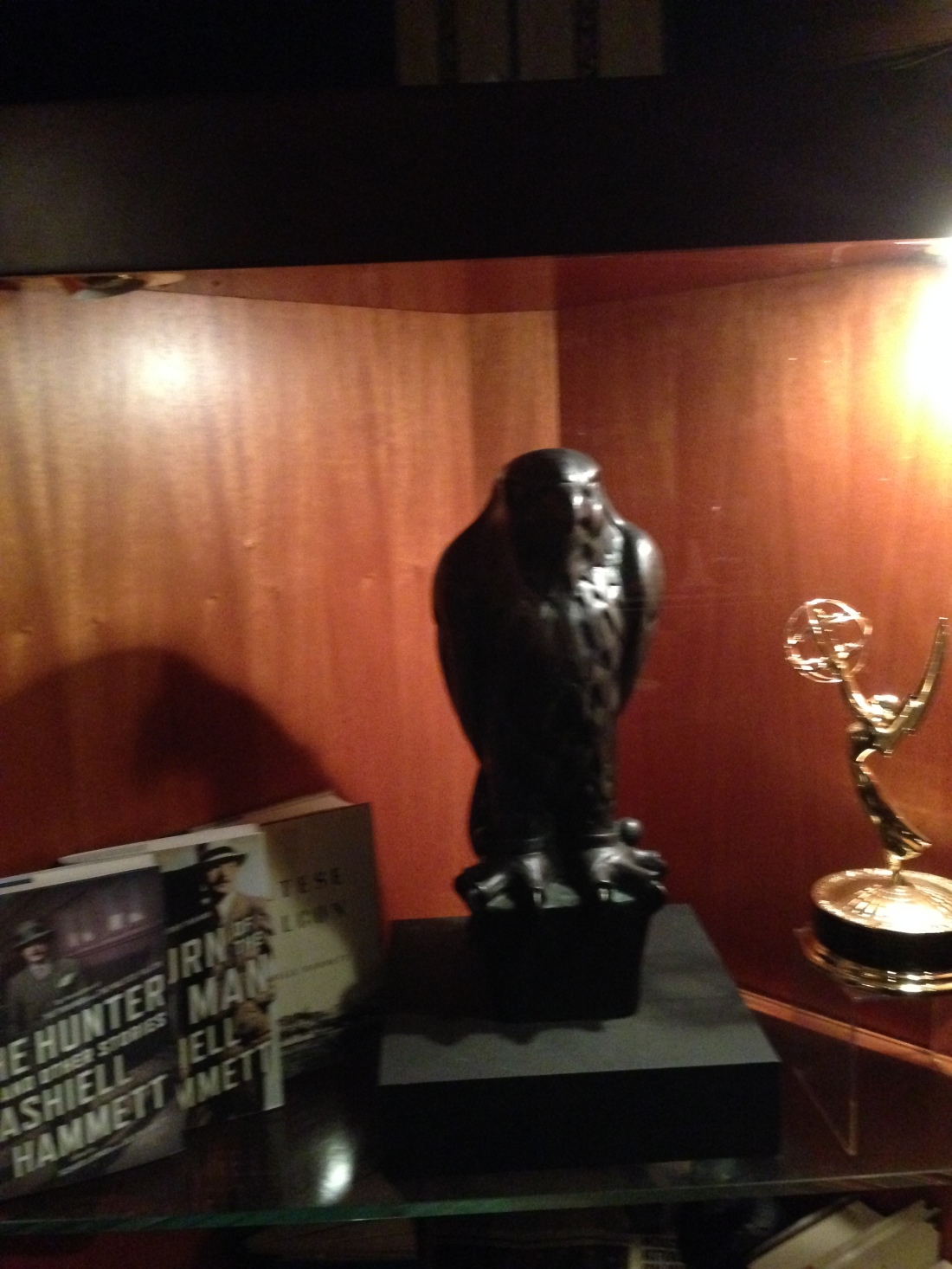 Actual Maltese Falcon prop at John's Grill, SF Jan 2014.JPG