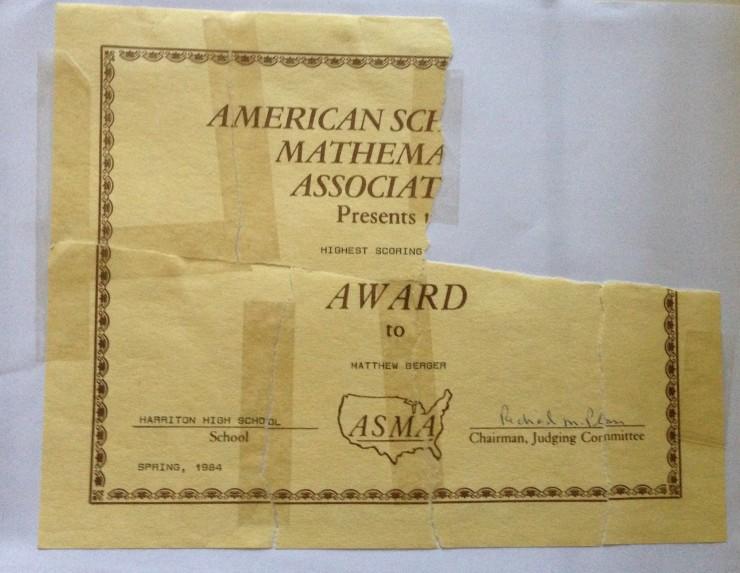 Math Award 1