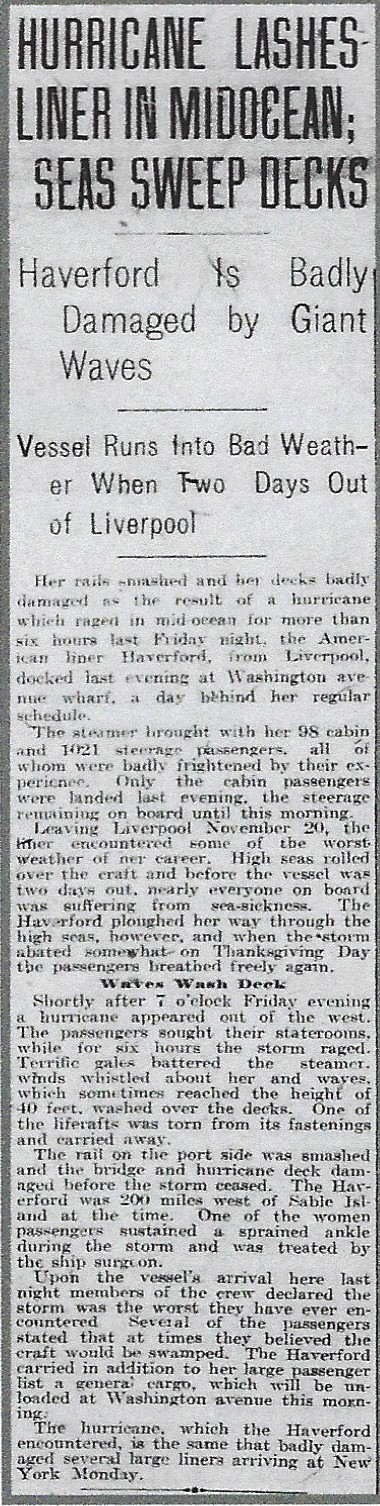 Rough voyage of Haverford 1912