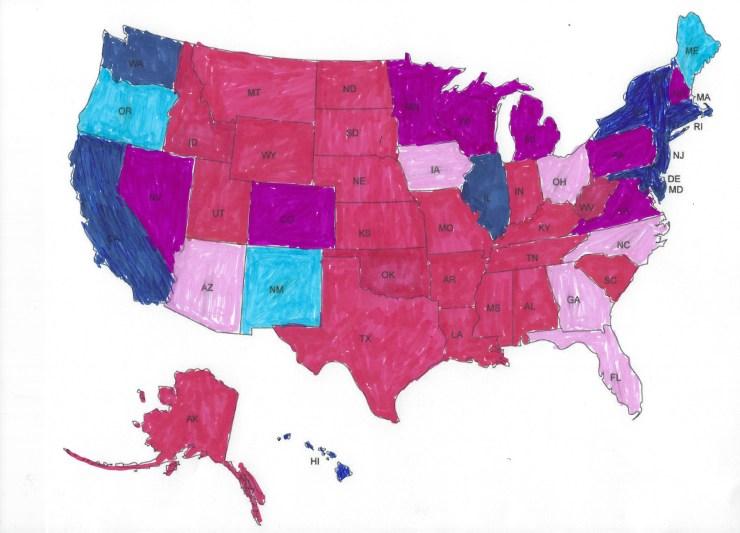 Hand drawn Democratic strength map