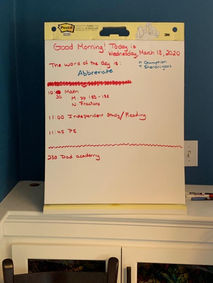 March 18 schedule